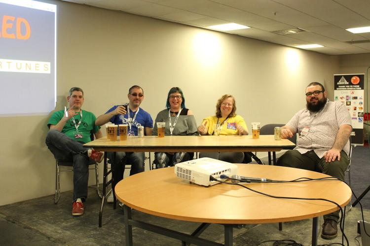 Barney Baker, Martin Cubberley, Katie Bain, Jenny Harman, Andrew Harman (at     the bar), Matt Coward-Gibbs