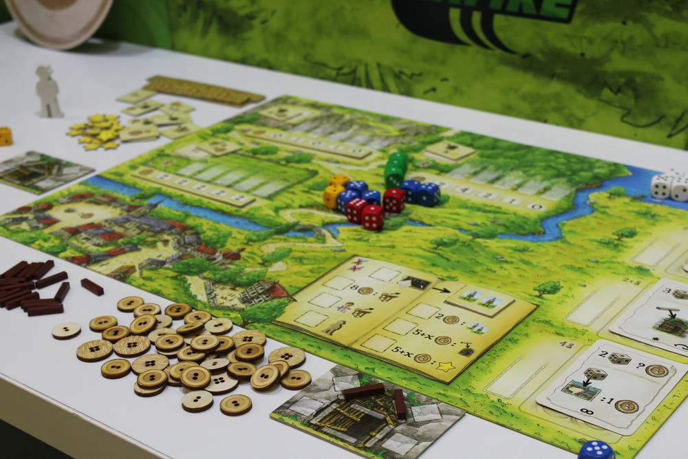 La Guerre des Boutons - The main board showing some of the main actions spaces.