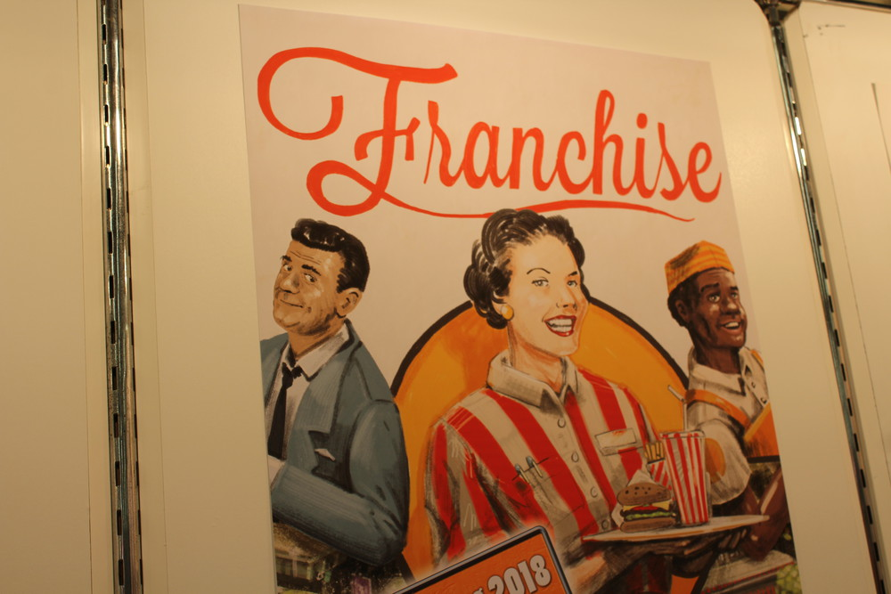 Franchise - A closer look at the artwork, very retro.